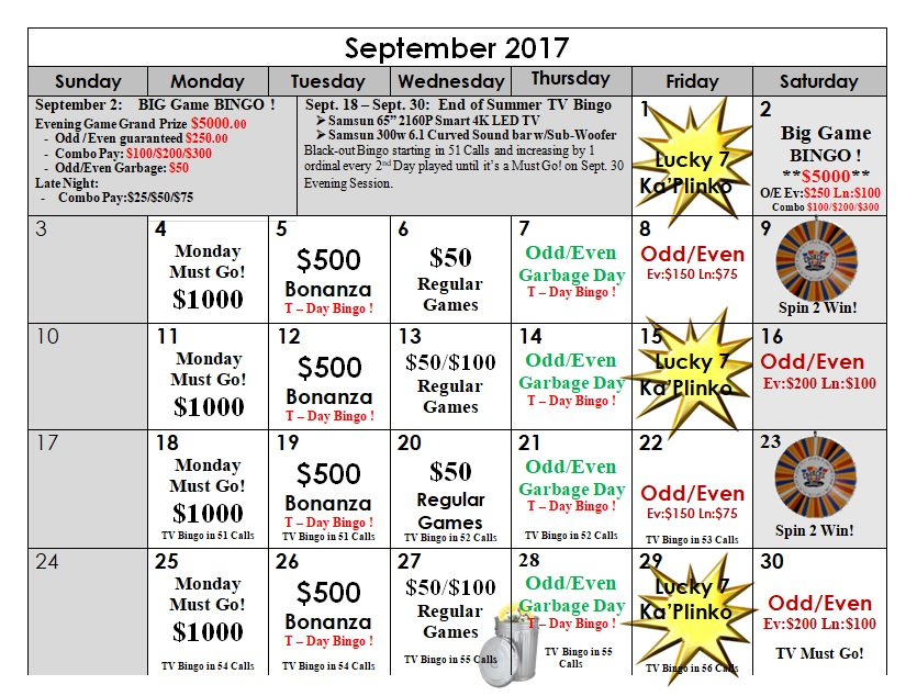 bingo calendar sept 2017
