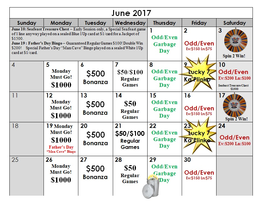 bingo june calendar 2017